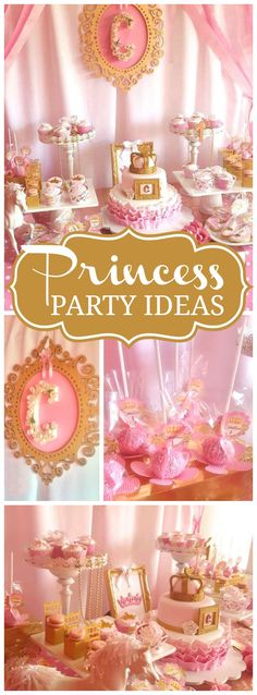 Pink and gold are in the spotlight at this gorgeous princess party! See more party ideas at CatchMyParty.com!