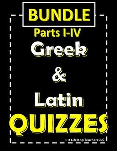 Use these quizzes to assess your middle school students' knowledge of Greek and Latin roots and prefixes. These quizzes were designed to be used in conjunction with our worksheets found in ourWORKSHEETS BUNDLE Parts 1-4:Greek and Latin Root Words and Prefixes.