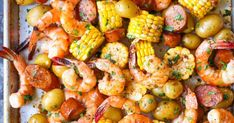 Sheet Pan Shrimp Boil - Easiest shrimp boil ever! And it's mess-free using a single sheet pan. ONE PAN. No newspapers. No bags. No clean-up! Boiled Dinner, Balsamic Chicken, Balsamic Carrots, Cashew Chicken, Lime Chicken, Roasted Chicken, Baked Chicken, Baked Shrimp, Shrimp Bake