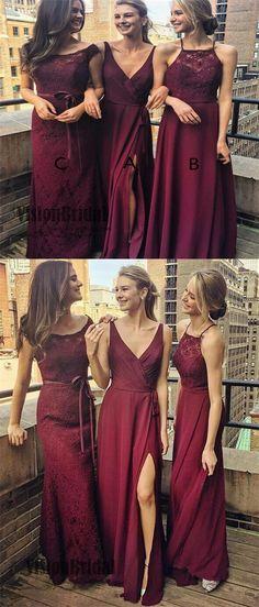 2018 Burgundy Mismatched Beautiful Floor Length Bridesmaid Dress, Wedding Party Dresses, VB0394 #bridesmaiddresses #bridesmaidd