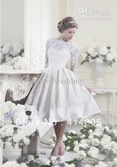 £66 in aubergine  Wholesale New arrival 2013 White/Ivory Lace Long sleeves Knee length Prom Wedding dress Bridal gown, Free shipping, $94.08-99.68/Piece | DHgate