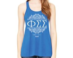 PhiSig Phi Sigma Sigma // Scroll Letters Tank // Flowy Racerback Tank // Choose Your Colors by UptownGreek on Etsy https://www.etsy.com/listing/278092418/phisig-phi-sigma-sigma-scroll-letters