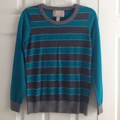 Banana Republic Teal/Charcoal Sparkle Sweater Beautiful teal and gray striped sweater with a silver sparkle stripe. 100% merino wool, size small. Long sleeves. Smoke and perfume free. Banana Republic Sweaters Crew & Scoop Necks