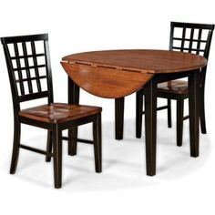 Dining Room Set Drop Leaf Kitchen Table Chairs Dinette Furniture 3-Piece Seats 2