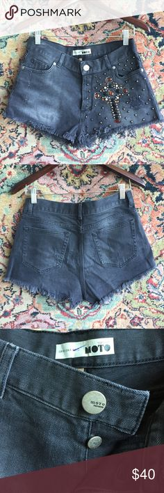 """Topshop Cutoff Jean Studded Shorts Edgy chic! I'm excellent used condition with no issues. Layer and wear in summer or chillier weather with Moto boots. 15.25"""" waist, 10.25"""" rise and 1.5"""" inseam. US size 8 Topshop Shorts Jean Shorts"""