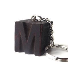 letterpress keychain vintage 1920's letter M wood stamp printers block old antique retro printing patina small mini miniature authentic aged by RecycleBuyVintage on Etsy