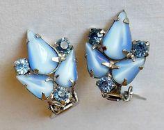 Silver-tone Blue Glass Teardrop & Blue Rhinestone Prong Set Clip On Earrings #Unbranded