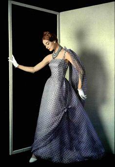 1957 Hubert de Givenchy ~ETS #polkadots #givenchy #fiftiesvinytage