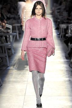 Fuzzy pink single-breasted jacket and pencil skirt suit with crystal bead trim and black belt. By Chanel - Haute Couture Fall Winter 2012-13