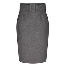 Misscat Women High Waist Belted Office Pencil Skirt Bodycon Winter Autumn M Grey >>> Check out this great product.