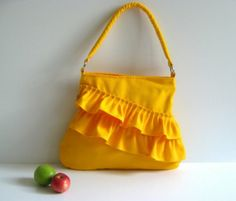 Frilly Tote Bag in Bright Yellow  zippered closure / by bayanhippo, $35.00