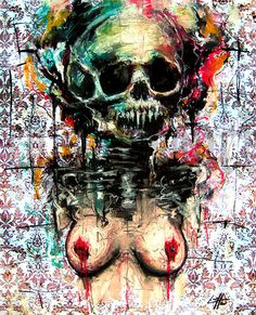 "Print 8x10"" - Snuff Machine 2 - Skull Dark Art Skeleton Abstract Surreal Blood Boobs Tits Sex Red Macabre Design Decor Bones Blue White"