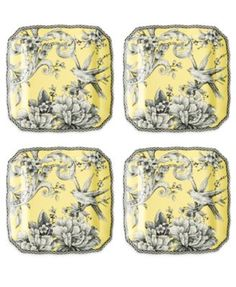 222 Fifth Fine China 4-Pc. Adelaide Yellow Square Appetizer Plates Set
