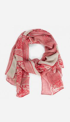 Aztec mixed print scarf - Red