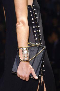 Sculptural Fashion // black dress with deconstructed pearl details, Lanvin at Paris Spring 2015