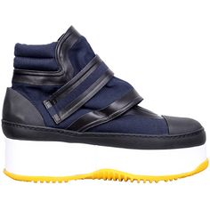 Marni Platform sneakers (3.600 RON) ❤ liked on Polyvore featuring shoes, sneakers, blu, rubber sole shoes, platform trainers, genuine leather shoes, leather shoes and platform leather sneakers