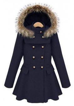 Navy Blue Buttons Pleated Band Collar Wool Coat...>>>I like this but I don't like the fur:(