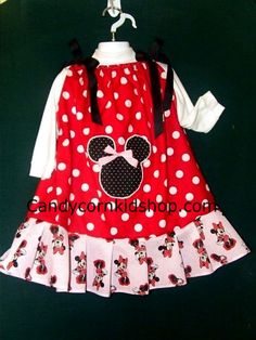 Minnie Mouse Dress 4-5 Boutique Couture & Matching Minnie Mouse Hair Bow Sweet! -Search ebay item# 190640651720
