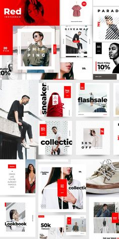 This product is a part of Royal Bundle : --- Hello this is RED, Next generation social media design for urban fashion industries. Social Media Ad, Social Media Banner, Social Media Template, Social Media Design, Instagram Grid, Instagram Design, Instagram Story, Keynote Design, Presentation Design