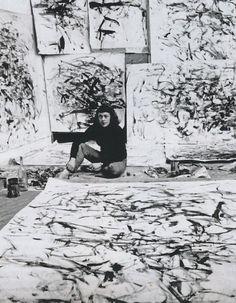 Joan Mitchell in her Paris studio, 1957