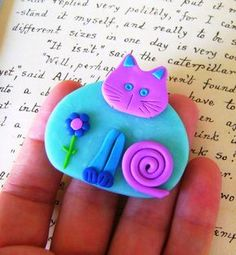 Polymer Clay Cat blue and purple Brooch or Magnet by Coloraudia, $10.00