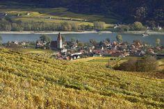 Der Ort Weissenkírchen in der Wachau im Herbst.