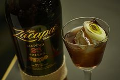 Ron Zacapa 23 cocktail with honey-roasted leeks, chestnut, all spice and balsamic vinegar