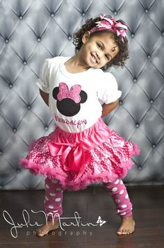 #RK Hot Pink Polka Dot Minnie Mouse Pettiskirt Set by PoshBabyStore.com