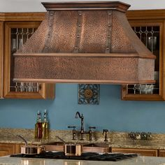 """Striking addition to your dream kitchen - Tuscany Series 48"""" Island Solid Copper Range Hood     http://www.signaturehardware.com/product18577    #proaire #kitchen #dream #home"""