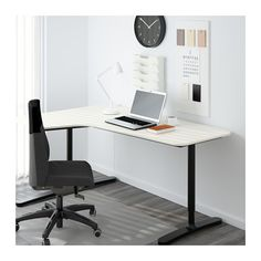 BEKANT Corner desk-left, white, black $219.00 The price reflects selected options Article Number: 090.064.08 Size 63x43 1/4 ""