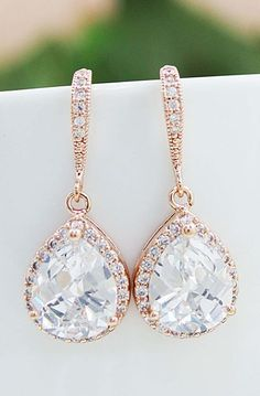 Earrings Bridal Jewelry LUX Rose Gold