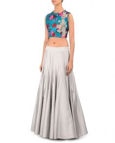 Silver Gray Lengha with Floral Printed Blue Blouse - Kylee - Designers