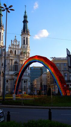 A   beautiful new  rainbow has been built in Warsaw, Poland (29/4/2014)... How long before this one  will be burned to the ground as well ??