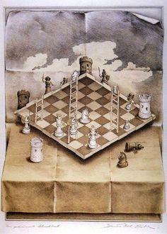 Mc Escher chessboard - I love the illusion Mc Escher, Escher Kunst, Escher Art, Illusion Kunst, Illusion Art, Op Art, Kunst Poster, Magritte, Dutch Artists