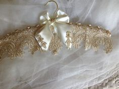 Items similar to Wedding gown hanger. on Etsy Fabric Covered Hangers, Padded Hangers, Baby Girl Hair Accessories, Wedding Accessories, Wedding Coat Hangers, Shabby Chic Fabric, Ideias Diy, Sewing Box, Gold Lace