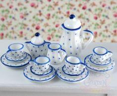 Dollhouse Miniature Porcelain Vintage Tea Set Dishes 17