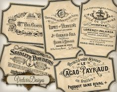 Vintage Advertisement Labels printable images by VectoriaDesigns, $3.15