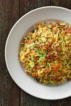 Crispy swoodles with bacon - http://nomnompaleo.com/post/154111115368/crispy-swoodles-with-bacon