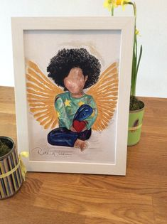 Excited to share the latest addition to my #etsy shop: Angel In You (A4 picture young girl sitting-without frame) etsy.me/2qieAHh #art #printmaking #angel #gift #inspirationalgifts #blackart #love #paintingprint #print
