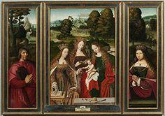 Perfect effect canvas the Reproductions Art Decorative Prints on Canvas of oil painting Anonymous Desposorios misticos de Santa Catalina triptico Ca 1520  24 x 34 inch  61 x 87 cm is best for Powder Room gallery art and Home gallery art and Gifts