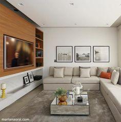 Painel para TV: 90 modelos e cores para você tirar ideias de decoração Home Theater Tv, Home Office Layouts, Interior Architecture, Interior Design, Home Tv, Dream Decor, Living Room Interior, Living Room Designs, Family Room