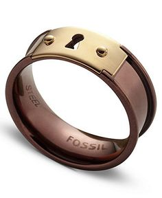 Fossil Ring, Rose Gold and Brown Tone Stainless Steel Keyhole Ring - Fashion Jewelry - Jewelry & Watches - Macy's