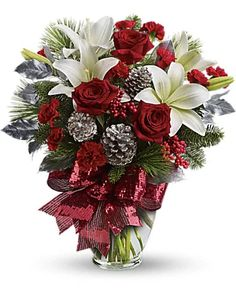 Christmas Flowers Delivery Louisa KY - Farmhouse Memories Christmas Flower Arrangements, Christmas Flowers, Silk Flower Arrangements, Flowers To Go, Silk Flowers, Flowers Vase, Crochet Flowers, Silver Christmas Decorations, Christmas Centerpieces