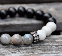 Labradorite rustique + Dalmatien pierres précieuses perles Bracelets par BeadRustic livraison gratuite