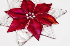 """Red Iridescent and Clear Textured Poinsettia Ornament 4"""", christmas, gifts, fused glass. $17.00, via Etsy."""
