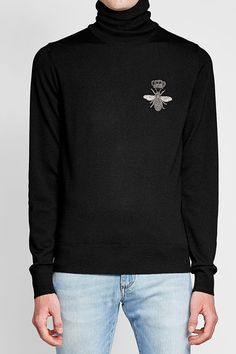 Wool Turtleneck with Embellishment - Dolce & Gabbana | MEN | RO STYLEBOP.COM