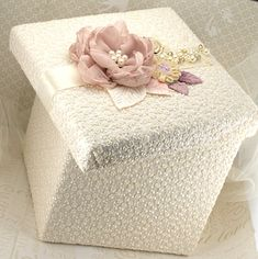 Bridal Keepsake Box Wedding Keepsake Box in Ivory, Blush Pink, Lilac, Gold and Champagne with Lace, Pearls and Crystals on Etsy, $95.00