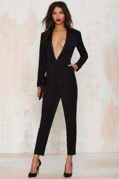 Nasty Gal Like a Boss Tuxedo Jumpsuit