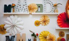 pinwheel wedding décor, monogram, typography, @kelly frazier at Nine Photography