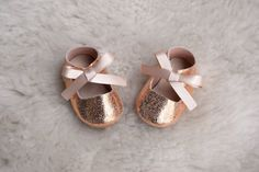 Rose Gold Baby Mary Jane, Handmade Baby Girl Shoes, Pink Baby Shoes, Baby Girl…